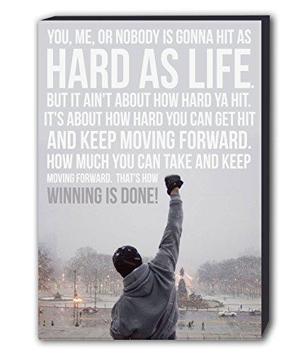 Kunstdruck mit berühmtem Zitat, Motiv: Rocky Balboa, Wandbild, holz, A1 32X24inch