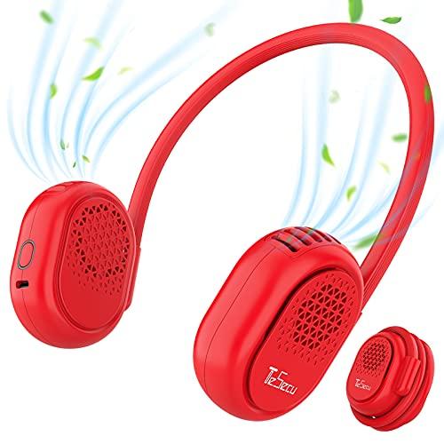 Ventilador de Cuello, Tesecu Recargable Mini Ventilador de Manos Libres Ajustable de 360° Ventilador Portatil 3 Velocidades, Ventilador Personal Portátil para El Hogar/ La Oficina/ Viajes/ Ext