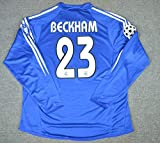 HAO David Beckham#23 Retro Long Sleeve Jersey 2004-2005 Full Patch Blue Color (S)