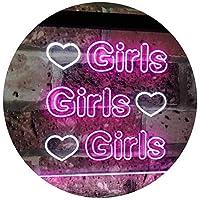 Girls Heart Bedroom Display Gift Dual Color LED看板 ネオンプレート サイン 標識 白色 + 紫 600 x 400mm st6s64-i2223-wp