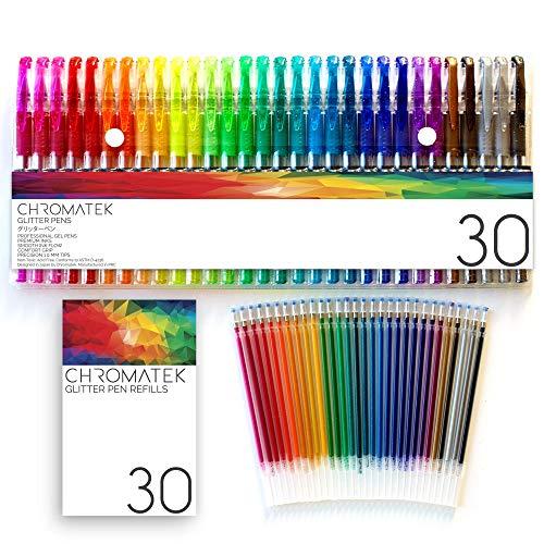 Penne Glitter di Chromatek. I migliori colori. 200% di inchiostro: 30 penne e 30 ricariche gratuite. Colori ultra luccicanti ultra brillanti. Nessuna ripetitiva. Per la colorazione degli adulti.