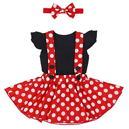 Costume per Halloween o carnevale da Minnie, per bambina Polka Dots Tutu Principessa Abiti Estivo Ragazze Vestito per Festa Cerimonia Carnevale Compleanno Comunione Ballerina Prom 12-18 Mesi