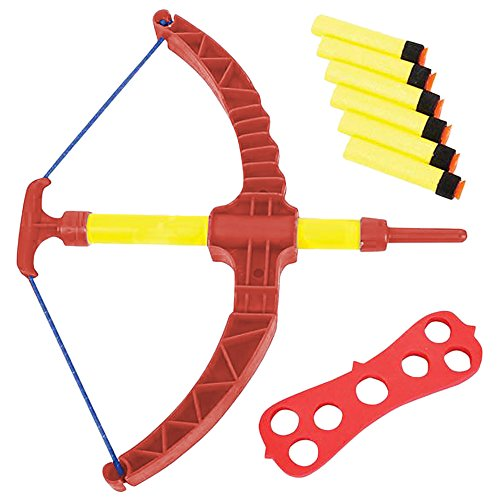 ArtCreativity Red Super Bow and Arrow Shooter Set - Comes in Blister Card Packaging - Includes Air-Powered Bow, Barrel, Six Soft Darts, Instructions and Cut-Out Dartboard - Sports Toy