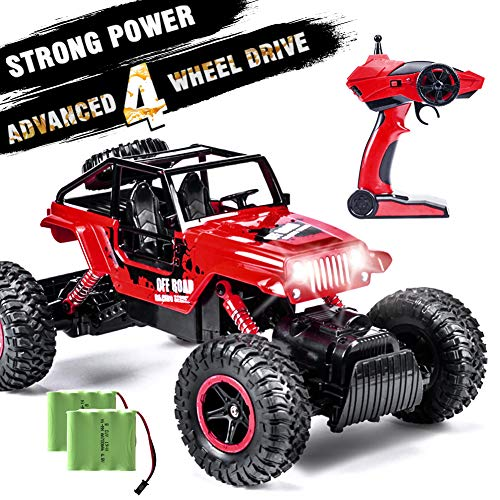 INGQU 1:14 Remote Control Car 4WD Off Road Monster Trucks with Head Lights 2.4Ghz Rock Crawler Electric Hobby Toy (Red)