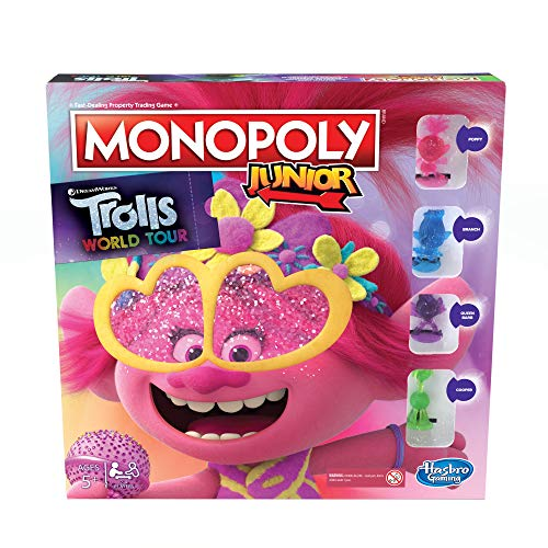 Monopoly Junior: DreamWorks Trolls World Tour Edition Board Game for Children Aged 5 and Up