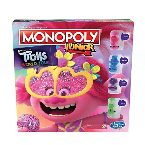 Juego de Mesa Monopoly Junior, DreamWorks Trolls World Tour Edition para niños de 5 años en adelante