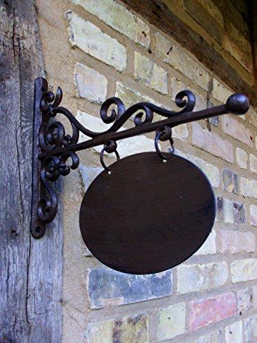Antikas - pizarra tienda - decoración entrada - letrero para grabar nombre - pizarra en oval - pizarra hierro forjado 18x13
