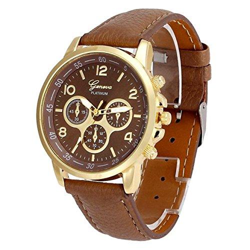 Neuer Trend Armbanduhr Classic Damen Analoge Quarz Uhren, Frauen Wrist Watch ultradünn Minimalistisches Design Lederarmband Zifferblatt Uhr LEEDY
