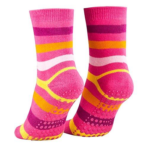 Piarini 2 Paar Kinder Stoppersocken ABS Socken Anti Rutschsocken Noppen Baumwolle Jungen Mädchen Pink Gr. 23 24 25 26