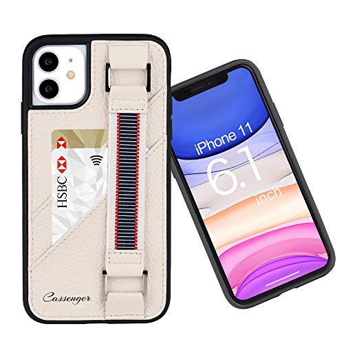 Cassenger Shock-Absorbing Series Leather Wallet Case with Elastic Hand Strap Compatible with iPhone 11 (2019), Beige