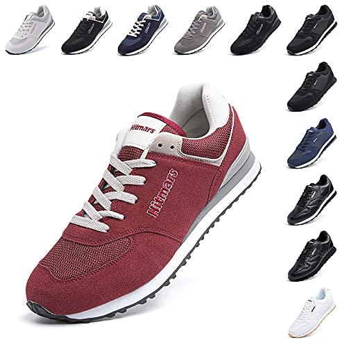 Zapatillas Hombre Mujer Casual Sneaker Gimnasio Cómodos Clásico Zapatos Deportivas Running Rojo 1 Talla 42