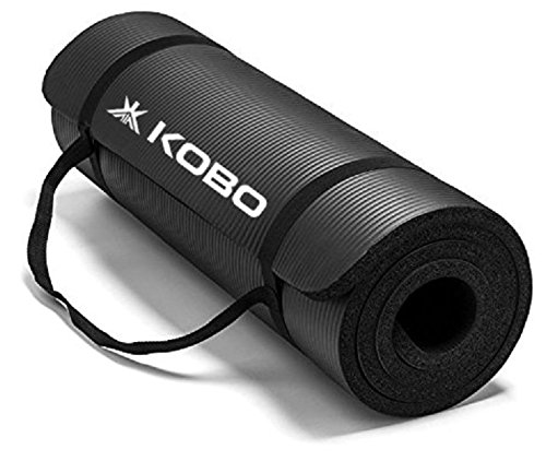 Kobo NBR Athletica Yoga Mat- Multi-use Thick Exercise Mat, Non-Slip and Anti-Tear. Great for Hot Yoga and The Gym, Home Workout, Pilates, Physio and Camping. Includes Carrying Strap.