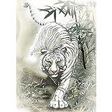HGSWYUD White Tiger Diamant Peinture Kit Enfants Adultes 5D Diamant Peinture Kit Ménage Mural Artisanat Décoration 30*40cm Strass Broderie Cadeau