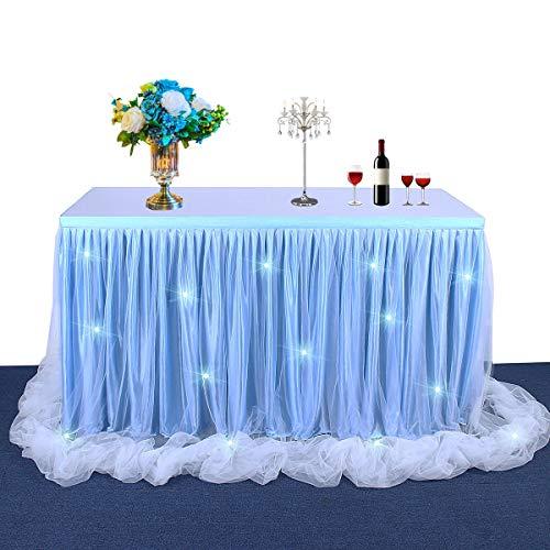 HBBMAGIC Tischrock Blau LED,Tisch Tüll 183*76CM, Candy Tisch Tischdecke Tüll für Geburtstag Mädchen Baby Girl Deko,Baby Shower,Baby Party,Candy Party,Candy Bar,Hochzeit