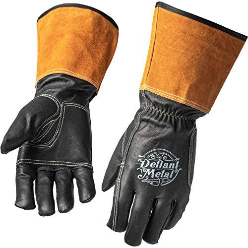 Defiant Metal TIG Welding Gloves - Premium Black Goatskin Leather (X-Large)