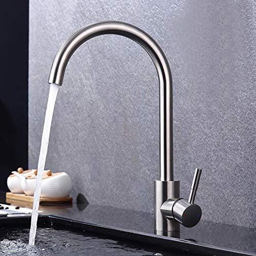 GAVAER Wasserhahn Küche,360° Drehbar Küchenarmatur aus Edelstahl, Geeignet für Spültischarmatur und mischbatterien für küche. Kaltes und Heißes Wasser Vorhanden, Lebenslange Garantie.