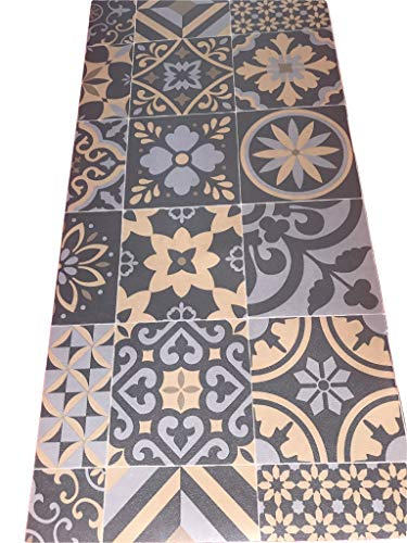 Tappeto cucina a metraggio PVC largo 50 cm marmette cementine azulejo (ARABESCO GOLD)