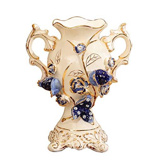 CZX Luxe Kleine Keramische Ikebana Vaas, Decoratieve Ivoor Porselein Blauw Granaatappel Emboss Decor Vaas, voor Woonkamer TV Kabinet Eettafel Wijnkast Bloemendecoratie