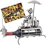 Brubaker Flaschenhalter Angler mit Sonnenschirm Metall Skulptur mit Grußkarte