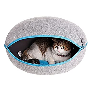 CocoGo® Nature Egg Shape Cozy Felted Caves for Cat Small Dog (Grey)