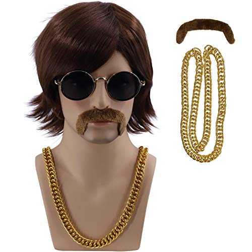 Cfalaicos 3-Pieces Chain and Moustache and Short Brown Costume Wig 60S 70S Mens Party Wig (Sonny Bono Short Brown)