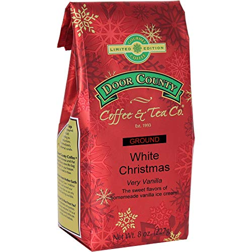 Door County Coffee, Holiday Flavored Coffee, White Christmas, Vanilla Ice Cream Flavored Coffee, Medium Roast, Ground Coffee, 8 oz Bag