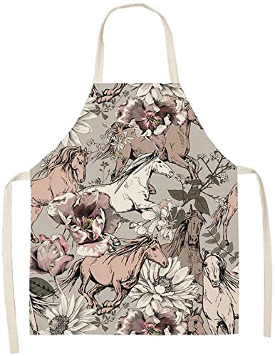 FFLSDR Apron Men And Women Kitchen Sleeveless Cotton And Linen Bib Home Cleaning Antifouling Home Cooking Apron 53x65cm Outdoor Barbecue Apron