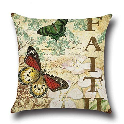Fundas de almohada con diseño de mariposas y letras impresas, cuadradas, para decoración del hogar, 2 unidades, resistentes y rentables