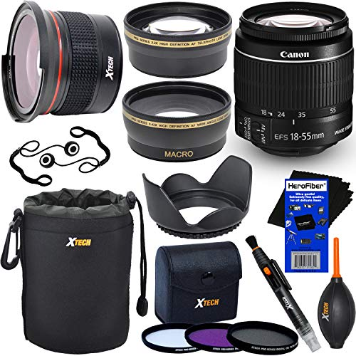 Canon EF-S 18-55mm f/3.5-5.6 is Mark II Zoom Lens for Canon DSLR Cameras (International Version) + Fisheye Lens + Telephoto & Wide Angle Lenses + 3pc Filter + 7pc Accessory Kit w/HeroFiber Cloth