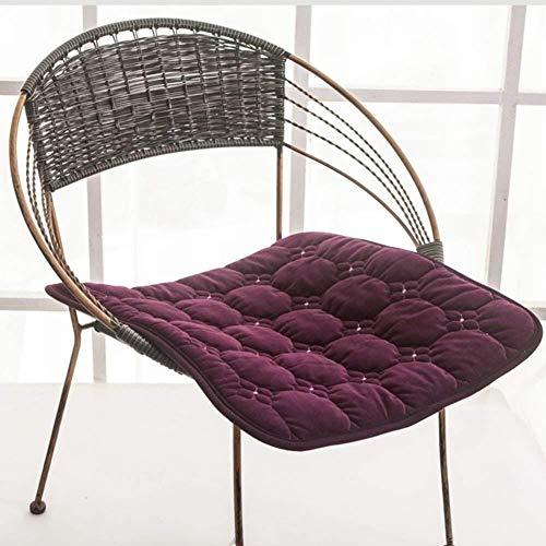 ARIUQK Stuhlkissen Nonslip Stuhlkissen, Sitzkissen Platz, Extra große Solid Color Velvet Universal-Büro-Auto-Rollstuhl Firm Sitzkissen Overstuffed (Color : Purple, Size : 55x55cm(22x22inch))
