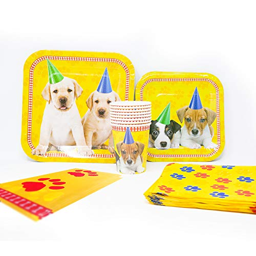 Blue Orchards Puppy Deluxe Party Supplies Packs (113+ Pieces for 16 Guests!), Puppy Party Supplies, Dog Themed Birthdays