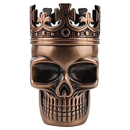 Golden Bell Upgraded Full Metal Spice Herb Skull Grinder - Red Bronze