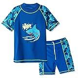 Huaniue Badeanzug für Jungen, 3-12 Jahre, 2-teilig, UV-Schutz, 4 Farben Gr. 5- 6 Jahre (Etikett...