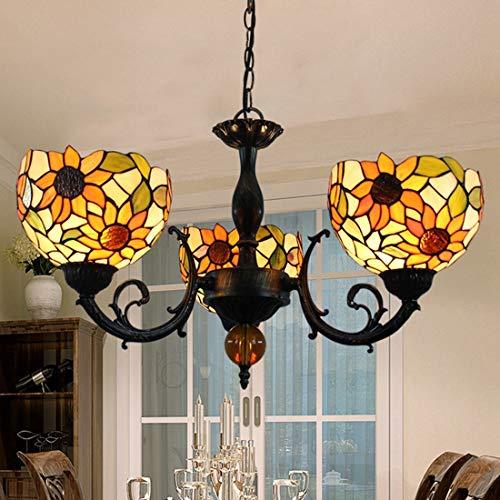Candelabro iluminación colgante Tiffany Vintage Comedor Sala de estar Dormitorio Cocina LED E27 luz de araña Rústico Creativo Diseño de girasol Lámpara de vidrio redonda, ajustable en altura, Ø57cm