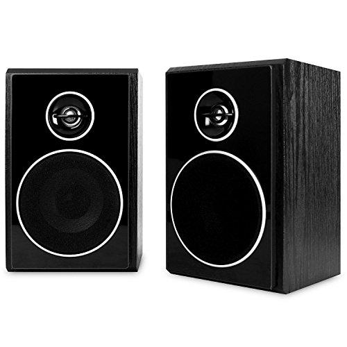 auna 388-BT Stereoanlage mit Plattenspieler Musikanlage (Doppelkassettendeck, Digitalisierungs-Funktion, für CD, MP3-CD, Schallplatten, MP3, Holzoptik, Fernbedienung) schwarz