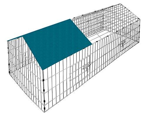 Deuba Conigliera da Esterno Gabbia per Conigli Recinto per Conigli Recinto all´Aperto Acciaio con Protezione Solare