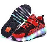 Aupast Zapatos de Patines para niños, Zapatos con Ruedas, Zapatillas de Gimnasia Unisex, Patines Ajustables para niños y niñas, Patines en línea