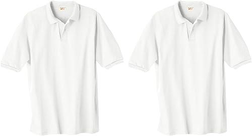 Hanes ComfortBlend Ecointelligent Knit Polo, Blanc, M (Lot de 2)