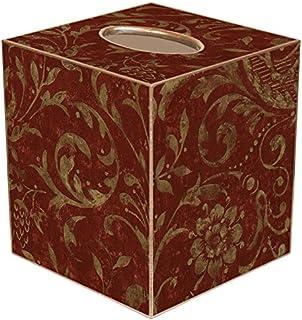 Red Damask Paper Mache Tissue Box Cover