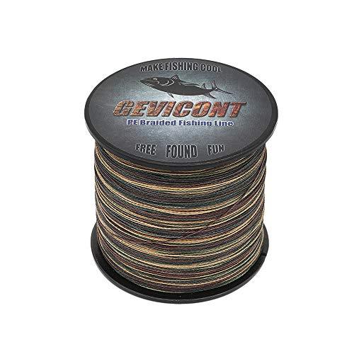 GEVICONT Geflochtene Angelschnur, 2000 m, 10 Farben, 4 Stränge, 1,8 kg - 45 kg, PE-Schnur, camouflage, 2187Yds(2000m)-30lb(13.6kg)-0.28mm