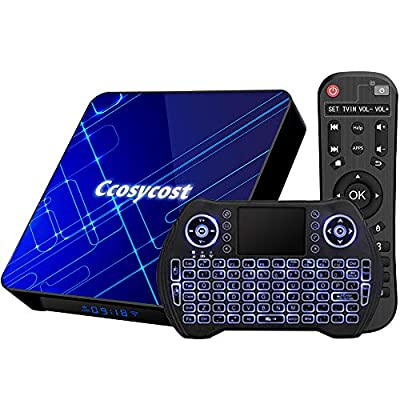 Android TV Box 9.0 4GB 128GB Smart TV Box Amlogic S905X3 Set Top Box with Backlit Wireless Keyboard USB 3.0 Ultra HD 4K 8K HDR Dual Band WiFi 2.4 5.8GHz BT 4.1 Streaming Media Player