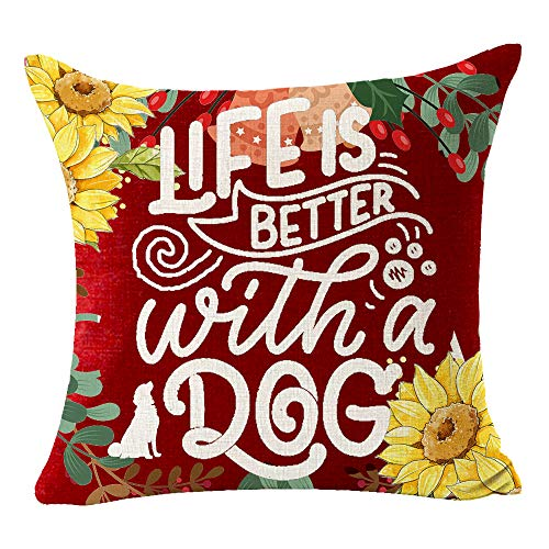 Best Gift The Dog Silhouette Life is Better with A Dog European Art Word Pattern Sunflower Sweet Home Decorative Throw Pillow Cover Cushion Case Adorn Sofa Cotton Linen Square 18 x 18 inch