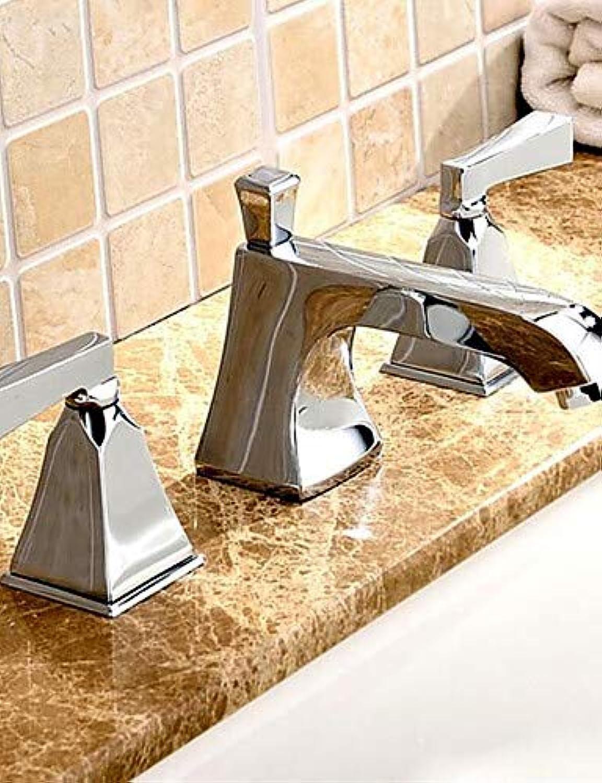 LPZSQ Tippen Messing verchromt DREI Bohrungen 8 Zoll breite Badezimmer Armaturen Waschbecken Wasserhahn Mixer  152