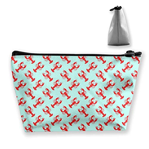 wenxiupin Red Lobster Pattern Mint Green Red Lobster Pattern Mint Green Storage Bag, Cosmetic Pouch Travel Makeup Bag Trapezoid Case