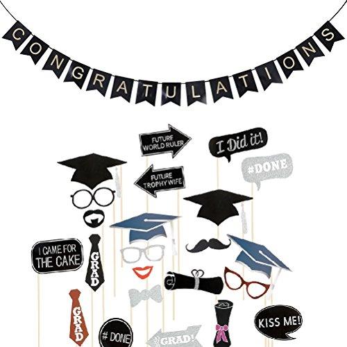 LUOEM Abschlussfeier Foto Requisiten und Congratulations Banner Graduation Party Dekoration