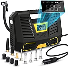 bahradody Portable Air Compressor Tire Inflator,12V DC Car Pump with Digital Pressure Gauge,Emergency Led Light for Automobiles Bicycles Bike Small Truck Basketball Balloons and Other Inflatables…
