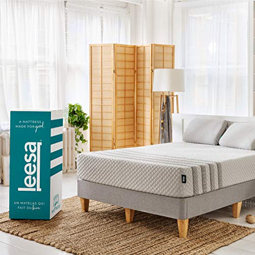 Leesa Luxury Hybrid 11 Inch Mattress, Innerspring and Premium Foam White & Gray, Queen