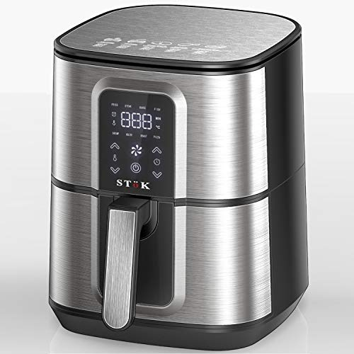 SToK 6.5 Liters 1800W Smart Rapid 3D Air Technology Digital Air Fryer With Recipes Book And Metal Grill, Metallic