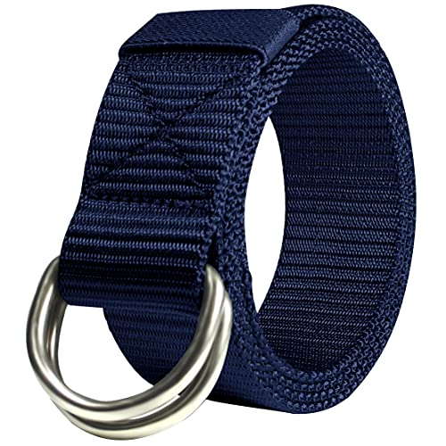 JINIU Men's Canvas Web Belt With Double D- Ring Buckle Military Tactical Adjustable Navy (JNSG28)