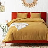 Luxlovery Mustard Comforter Set Queen Dark Yellow Bedding Comforter Sets Full Mustard Yellow Bedding Women Men Breathable Quilts Blanket Comfy Lightweight Comforter Set with 2 Pillowcases